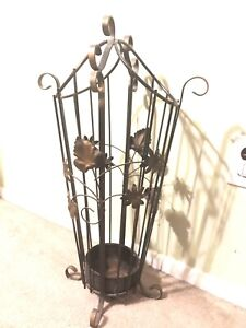 Vintage Wrought Iron Antique Victorian Flowers Leaves Hall Tree Umbrella Stand