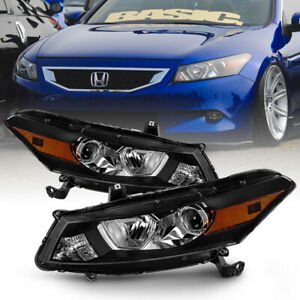 For 08 12 Honda Accord 2 dr Coupe Black Housing Projector Headlight Driving Lamp