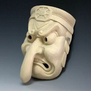 Tengu Noh Mask Long Nose Japanese Omen Wooden Face Mask Hand Made Kagura Japan