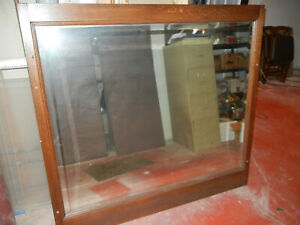 Large Solid Oak Antique Mirror 58 X 54 From Barber Shop