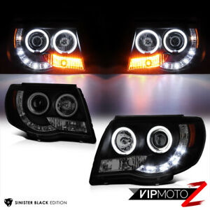 Limited Sinister Black For 05 11 Toyota Tacoma Halo Led Drl Headlight X Runner