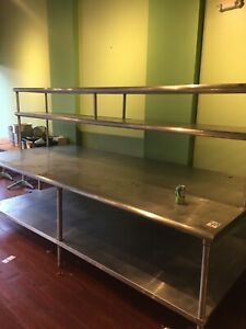 Kitchen Stainless Steel 10 x5 Inch Work Table With Backsplash 120 x60