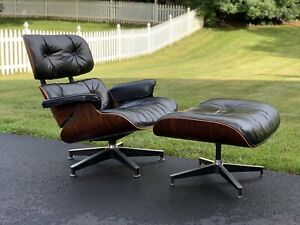Eames Herman Miller Lounge Chair Ottoman Rosewood Black Leather 1976