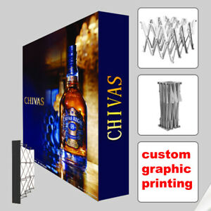10ft Portable Pop Up Stand Trade Show Display Back Wall Booth With Custom Print