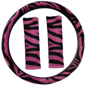 Zebra Print Hot Pink Black Steering Wheel Cover Belt Pads Universal Fit
