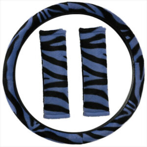 Zebra Print Blue Black Steering Wheel Cover Belt Pads Universal Fit