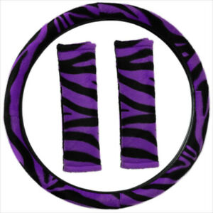 Zebra Print Purple Black Steering Wheel Cover Belt Pads Universal Fit