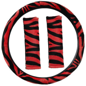 Zebra Print Red Black Steering Wheel Cover Belt Pads Universal Fit