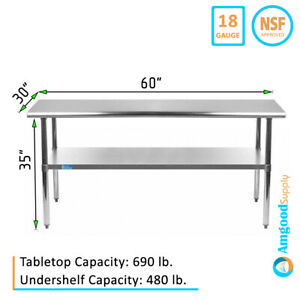 30 X 60 Stainless Steel Work Table With Galvanized Undershelf