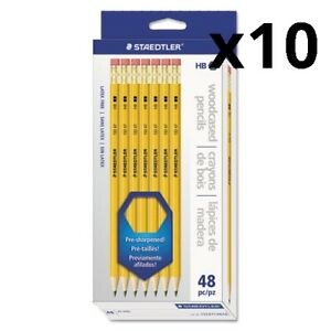 Woodcase Pencil Hb 2 5 Black Lead Yellow Barrel 48 pack Pack Of 10
