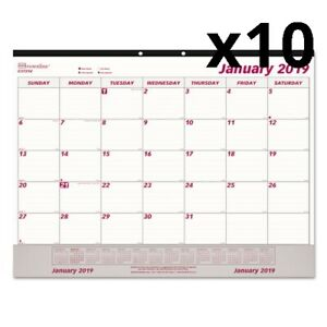Monthly Desk Pad Calendar 22 X 17 White maroon 2020 Pack Of 10