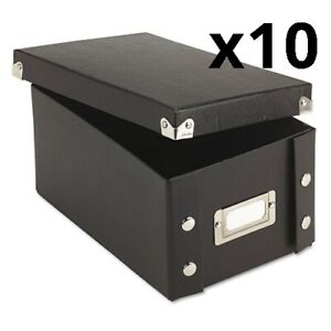 Collapsible Index Card File Box Holds 1 100 4 X 6 Cards Black Pack Of 10