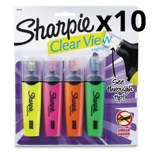 Clearview Highlighter Blade Tip Assorted Ink 4 Per Set Pack Of 10