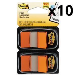 Standard Page Flags In Dispenser Orange 100 Flags dispenser Pack Of 10