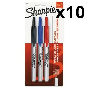 Retractable Permanent Markers Fine Point Assorted 3 set Pack Of 10