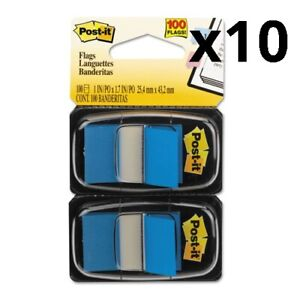 Standard Page Flags In Dispenser Blue 100 Flags dispenser Pack Of 10