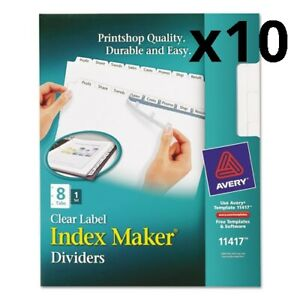 Print And Apply Index Maker Clear Label Dividers 8 White Tabs Letter Pack Of