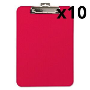 Unbreakable Recycled Clipboard 1 4 Capacity 8 1 2 X 11 Red Pack Of 10