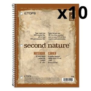 Second Nature Subject Wirebound Notebook 11 X 8 1 2 White 80 Sheets