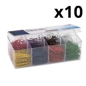 Plastic Coated Paper Clips No 2 Size Assorted Colors 800 pack Pack Of 10