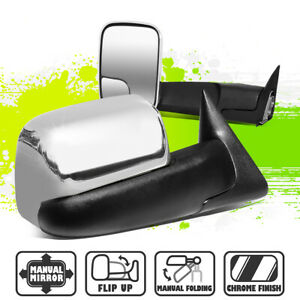 Chrome Manual Adjustment Side View Towing Mirrors For Dodge Ram 1500 3500 94 02