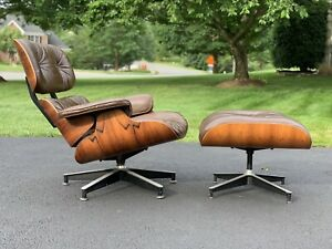 Eames Herman Miller Lounge Chair Ottoman Rosewood Brown Leather