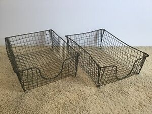 Vintage Pair Of Wire Basket Office Desk Paper Tray 30s 40s Storage Industrial