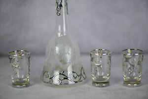 Art Nouveau Sterling Silver Overlay Decanter 3 Glasses As1601
