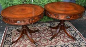 1920s Pair Of English Regency Mahogany Leather Top Center Tables Hall Tables