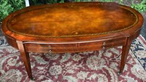 1920s English Regency Mahogany Leather Top Inlaid Coffee Table Brass Casters