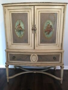 Vtg Antique Victorian French Hand Painted Armoire Dresser Cabinet
