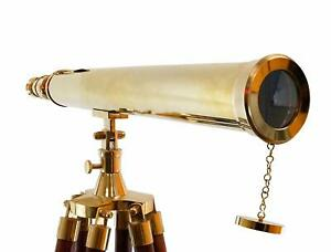 Nautical Collection S 64 Decorative Floor Standing Tripod Brass Telescope