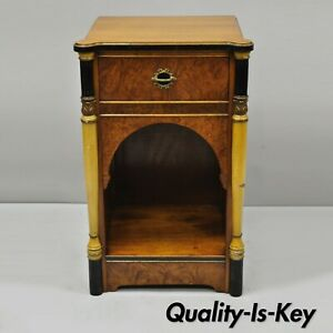 Antique French Art Deco Burl Wood Satinwood Nightstand Bedside Table W Columns