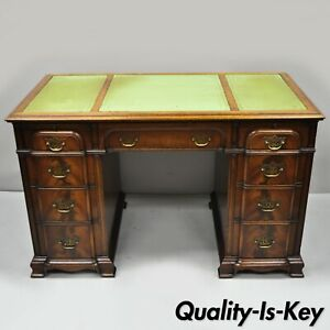 Crotch Mahogany Chippendale Block Front Green Leather Top Knee Hole Writing Desk