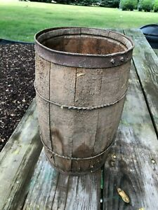 Vintage Antique Wooden Nail Keg Barrel Primitive Coffee Table Base Country Store