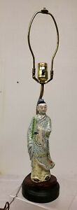 Antique Vintage Chinese Enameled Standing Figure Lamp Soft Palette