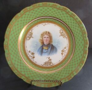 Ambrosius Lann H P Portrait Plate Mignon Heavily Gilded Beaded Small Pretty