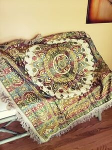 Vintage Silk Embroidered French Prayer Rug Piano Scarf Throw Rug Table
