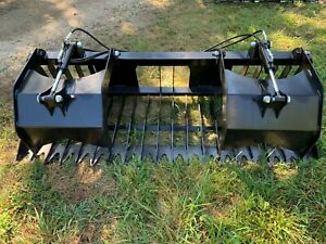 rock Grapple Skeleton Loader Bucket skid Steer quick Connect Plate New Hd