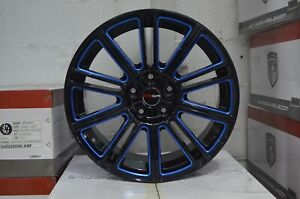 4 Gwg Wheels Flow 18 Inch Black Blue Mill Rims Fits 5x112 Volkswagen Beetle Tdi