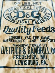 Large Vintage Feed Bag Early 1900s From D G Quality Feeds