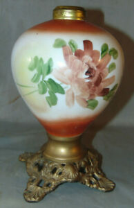Antique Victorian Hand Painted Oil Lamp W Ornate Metal Base Unsigned 9 3 8