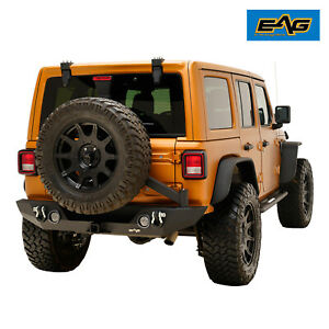 Eag Rear Bumper With Led Lights Tire Carrier Fit For 2018 2019 Jeep Jl Wrangler