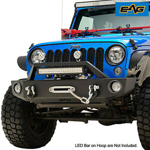 Eag Front Bumper Black With Winch Plate D ring Fit For 07 18 Jeep Jk Wrangler
