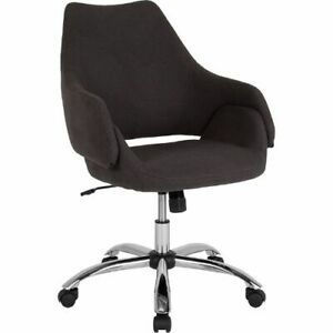Madrid Home And Office Upholstered Mid back Chair In Black Fabric