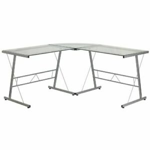 Glass L shape Computer Desk With Silver Frame Finish Flanancd22181gg