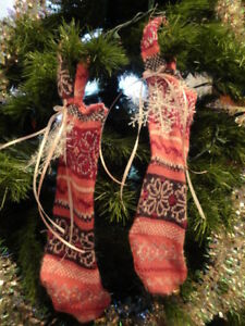 Set Of 2 Handmade Shabby Chic Victorian Style Cottage Style Stocking Decorations