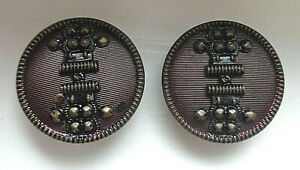 Set Of Antique Victorian Tinted Metal Buttons W Cut Steel Etc Embellishment 1