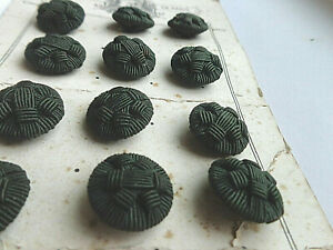 Lot Of 12 French Antique Black Corded Fabric Buttons On Original Card 3 4