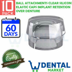 X 10 Ball Attachments Clear Silicon Elastic Caps Implant Retention Over Denture